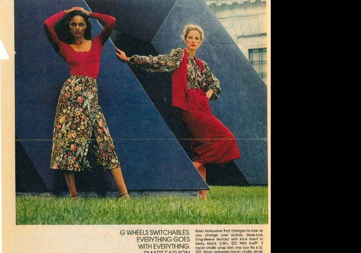 Models pose with Gracehoper in a Hudson Ad. Detroit Free Press, August 25, 1978.