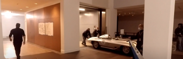 A team of expert car movers and art handlers worked together to move cars from the street to the Detroit Institute of Arts' galleries for the exhibition, Detroit Style: Car Design in the Motor City, 1950–2020.
