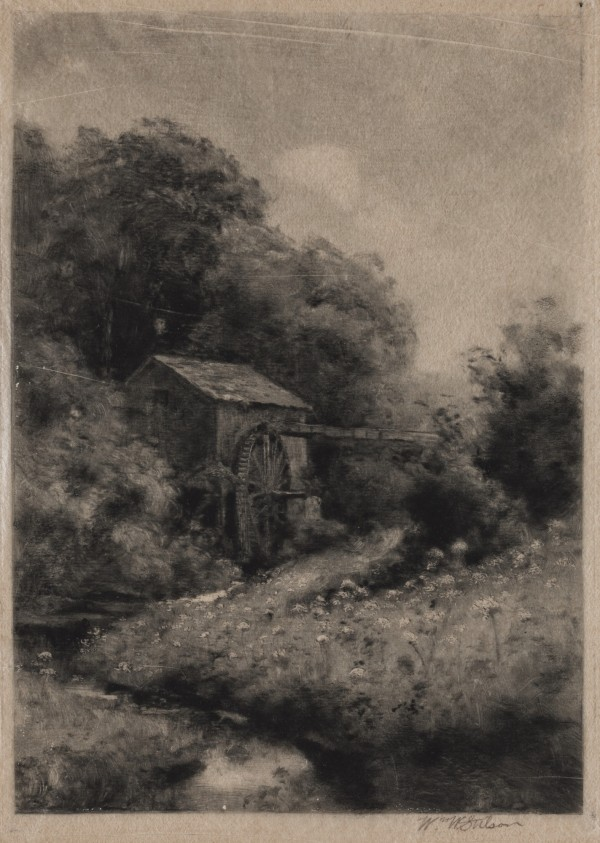 William W. Stetson, Old New England Mill, 19th Century, Monotype printed in black on tissue. Detroit Institute of Arts.
