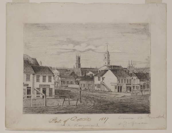 William Asa Raymond, Port of Detroit 1837, ca. 1837, graphite pencil on white wove paper. Detroit Institute of Arts.