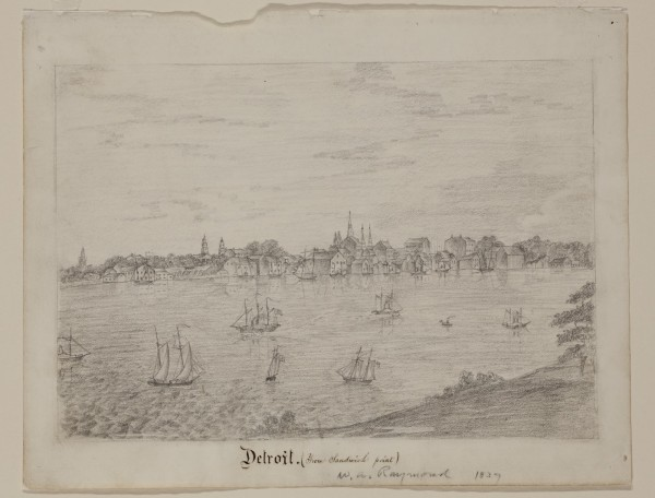William Asa Raymond, Detroit, ca. 1837, graphite pencil on white wove paper. Detroit Institute of Arts.