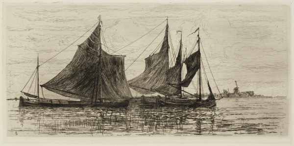 Carel Nicolaas Storm van s' Gravesande, Boats at Anchor off Dordrecht, c. 1877, Etching printed in black ink on laid paper. Detroit Institute of Arts.