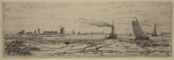 Carel Nicolaas Storm van s' Gravesande, The Maas between Dordrecht and Rotterdam, c. 1877, Etching printed in black ink on wove paper. Detroit Institute of Arts.