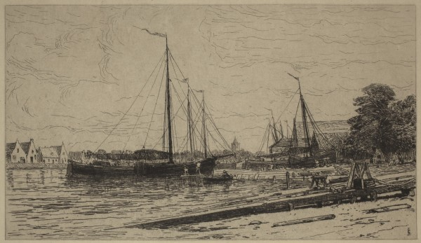 Carel Nicolaas Storm van s' Gravesande, Dockyards at Muiden, c. 1877, Etching printed in black ink on wove paper. Detroit Institute of Arts.