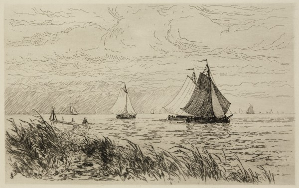 Carel Nicolaas Storm van s' Gravesande, The Mouth of the Vecht and the Zuyderzee, 1877, Etching printed in black ink on laid paper. Detroit Institute of Arts.