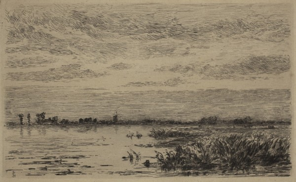 Carel Nicolaas Storm van s' Gravesande, The Lake of Abcoude: Evening Effect, c. 1877, Etching printed in black ink on japan paper mounted on canvas. Detroit Institute of Arts.