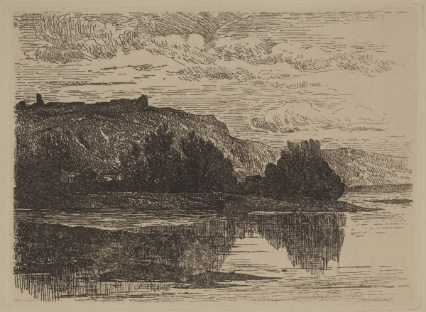 Carel Nicolaas Storm van s' Gravesande, The Ruins of Poilvache near Dinant, 1871, Heliogravure printed in black ink on laid paper. Detroit Institute of Arts.