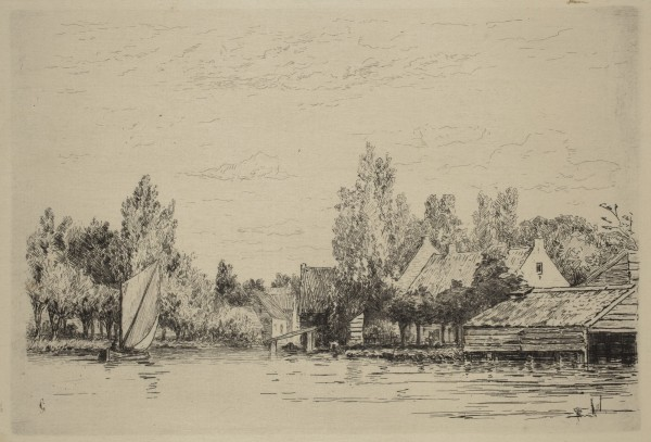 Carel Nicolaas Storm van s' Gravesande, The Village of Abcoude, c. 1877, Etching printed in black ink on laid japan paper. Detroit Institute of Arts.
