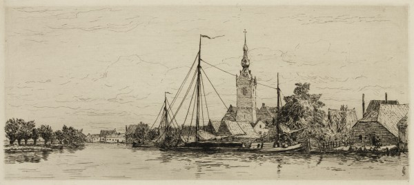 Carel Nicolaas Storm van s' Gravesande, The Village of Overschie, c. 1877, Etching and drypoint printed in black ink on laid paper. Detroit Institute of Arts.