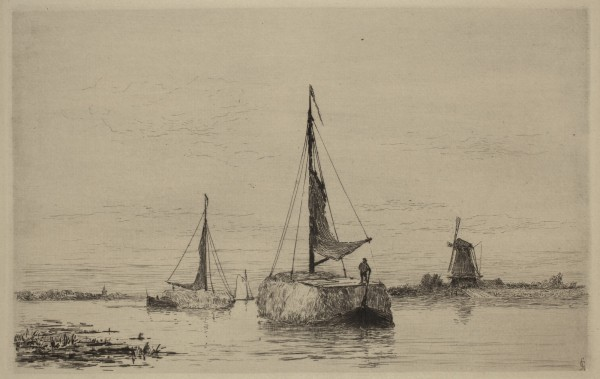 Carel Nicolaas Storm van s' Gravesande, The Vecht near Weesp, c. 1880, Etching and drypoint printed in black ink on laid paper. Detroit Institute of Arts.