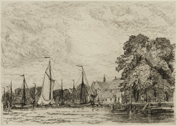 Carel Nicolaas Storm van s' Gravesande, The Rietdykshaven at Dordrecht, c. 1880, Etching and drypoint printed in black ink on laid paper. Detroit Institute of Arts.