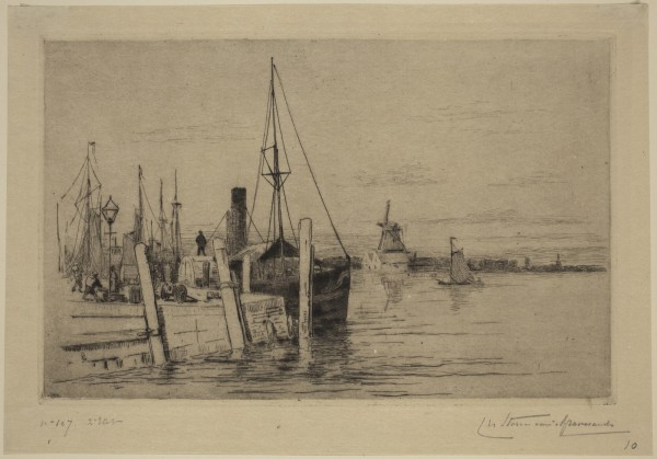 Carel Nicolaas Storm van s' Gravesande, The Wharf at Dordrecht, c. 1877, Etching and drypoint printed in black ink on laid japan. Detroit Institute of Arts.