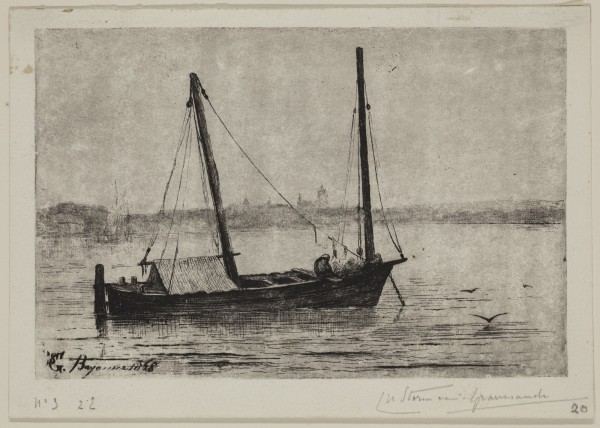 Carel Nicolaas Storm van s' Gravesande, A Lancha on the Adour, c. 1871, Etching printed in black ink on wove paper. Detroit Institute of Arts.