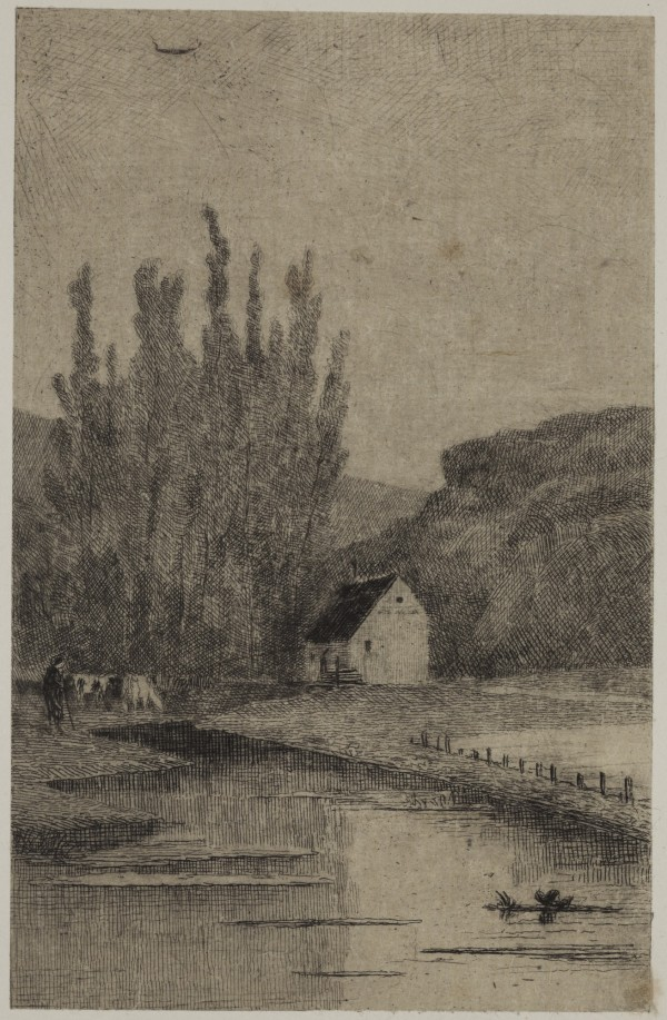 Carel Nicolaas Storm van s' Gravesande, At Franc Marteau, near Dinant, c. 1871, Etching printed in black ink on chine colle. Detroit Institute of Arts.
