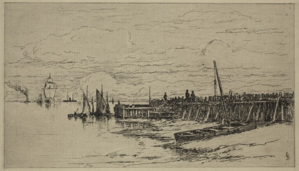 Carel Nicolaas Storm van s' Gravesande, Flushing Pier, 1880/1884, Etching and drypoint printed in black ink on laid paper. Detroit Institute of Arts.