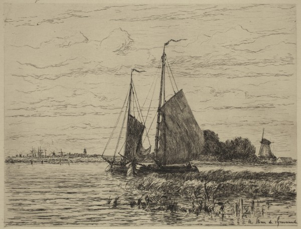Carel Nicolaas Storm van s' Gravesande, Boats on the Maas, 1880/1884, Etching and drypoint printed in black ink on laid japan paper. Detroit Institute of Arts.