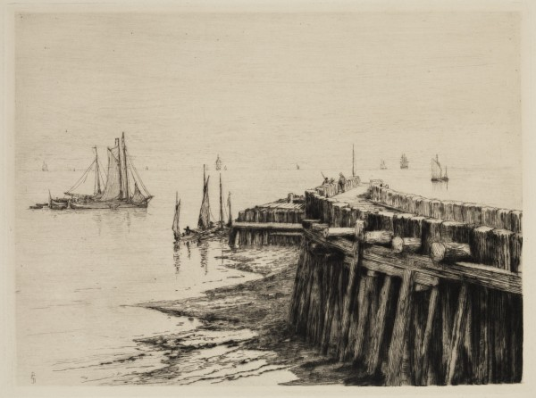 Carel Nicolaas Storm van s' Gravesande, Flushing Pier, c. 1881, Drypoint printed in black ink on wove paper. Detroit Institute of Arts.