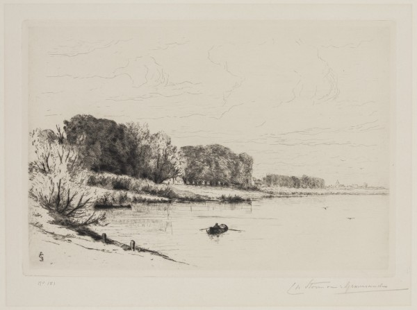 Carel Nicolaas Storm van s' Gravesande, The Yssel near the Steeg, 1880/1884, Drypoint printed in black ink on wove paper. Detroit Institute of Arts.