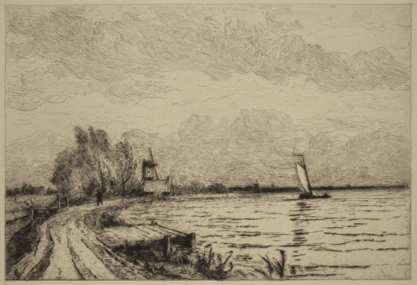 Carel Nicolaas Storm van s' Gravesande, Road on the Bank of the Lake of Loosdrecht, 1880/1884, Drypoint printed in black ink on laid paper. Detroit Institute of Arts.