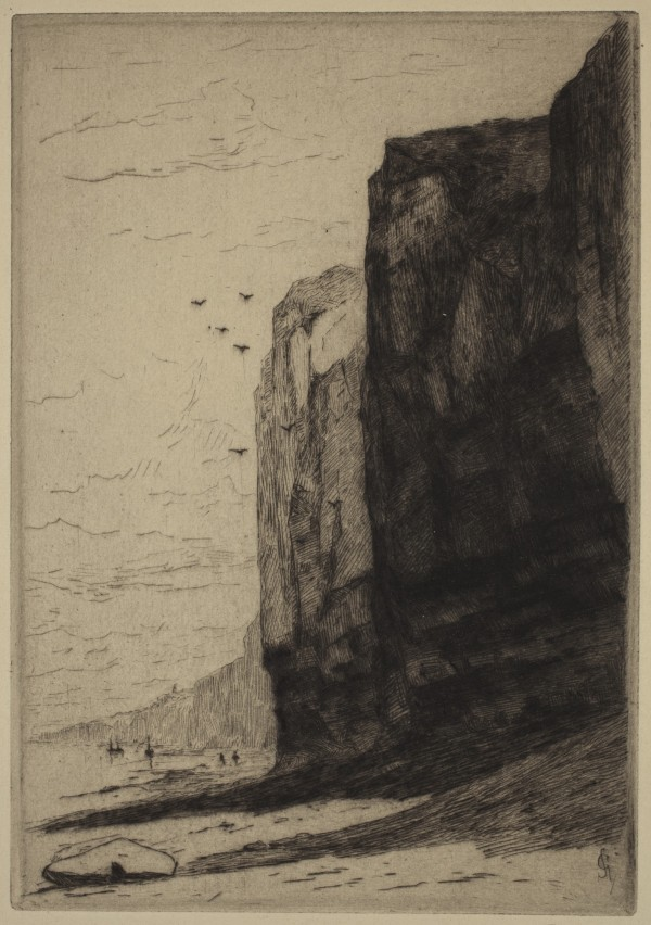 Carel Nicolaas Storm van s' Gravesande, Cliffs at Veules, 1880/1884, Drypoint printed in black ink on laid paper. Detroit Institute of Arts.