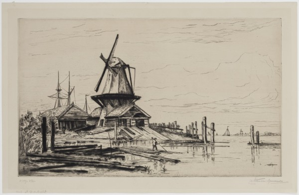 Carel Nicolaas Storm van s' Gravesande, Mill at Dordrecht, 1880/1884, Drypoint printed in black ink on wove paper. Detroit Institute of Arts.