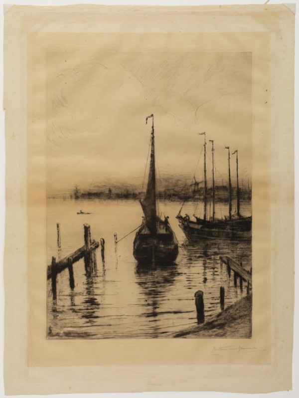 Carel Nicolaas Storm van s' Gravesande, Fishing Boats, 1880/1884, Drypoint printed in black ink on wove paper. Detroit Institute of Arts.