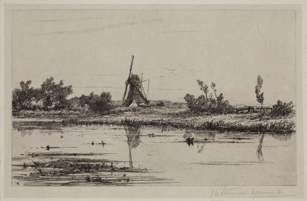 Carel Nicolaas Storm van s' Gravesande, Mill on the Bank of the Gein near Abcoude, c. 1872, Etching and drypoint printed in black ink on chine colle. Detroit Institute of Arts.