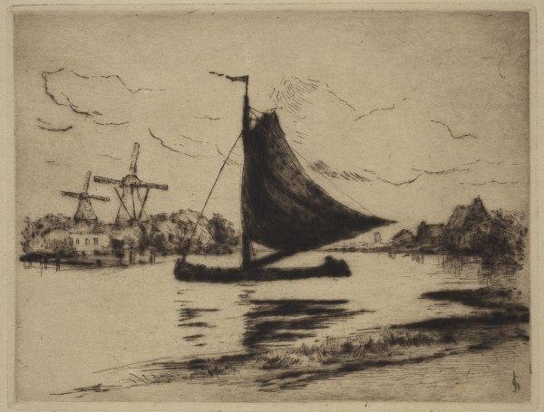Carel Nicolaas Storm van s' Gravesande, Overschie, c. 1884, Drypoint printed in brown ink on laid japan paper. Detroit Institute of Arts.