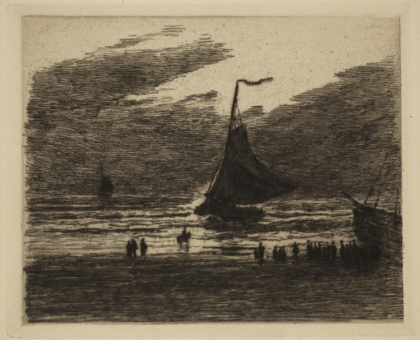 Carel Nicolaas Storm van s' Gravesande, Arrival of a Fishing Boat, Evening Effect, 1887/1889, Etching and drypoint printed in black ink on laid paper. Detroit Institute of Arts.