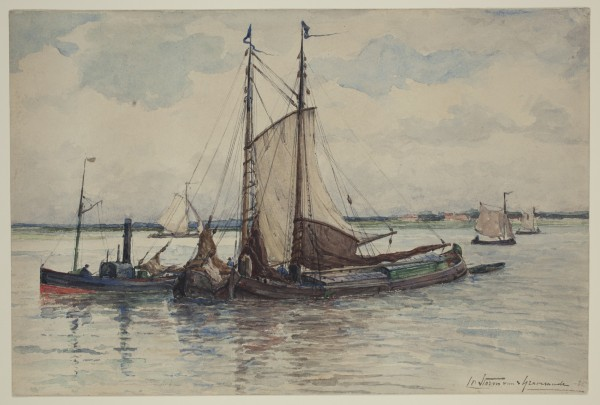 Carel Nicolaas Storm van s' Gravesande, The Maas off Dordrecht, 1885, Watercolor on white wove paper. Detroit Institute of Arts.