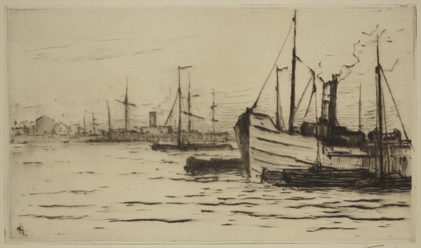 Carel Nicolaas Storm van s' Gravesande, On the Meuse at Rotterdam, 1889/1903, Drypoint printed in brown on wove paper . Detroit Institute of Arts.