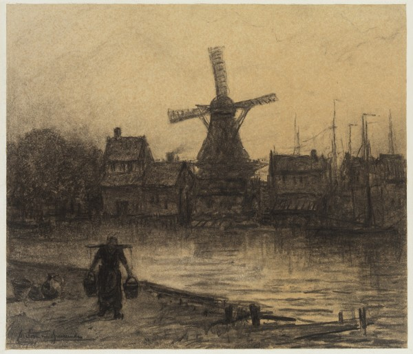 Carel Nicolaas Storm van s' Gravesande, Au bord du Gein (On the River Gein), middle 19th/early 20th Century, Charcoal and black chalk discolored wove paper. Detroit Institute of Arts.