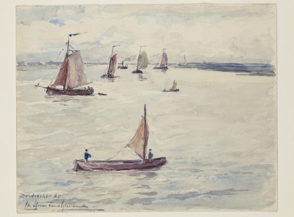 Carel Nicolaas Storm van s' Gravesande, Ships near Dordrecht, 1887, Watercolor and black chalk on white wove paper. Detroit Institute of Arts.