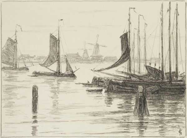 Carel Nicolaas Storm van s' Gravesande, Boats and Windmills, Lithograph printed in black on wove paper . Detroit Institute of Arts.