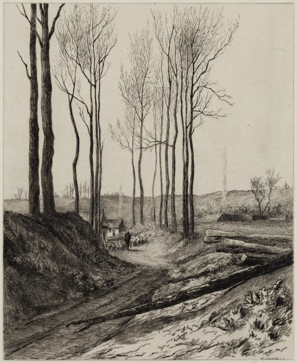 Carel Nicolaas Storm van s' Gravesande, Road near Vilvorde, c. 1872, Etching printed in black ink on china paper. Detroit Institute of Arts.