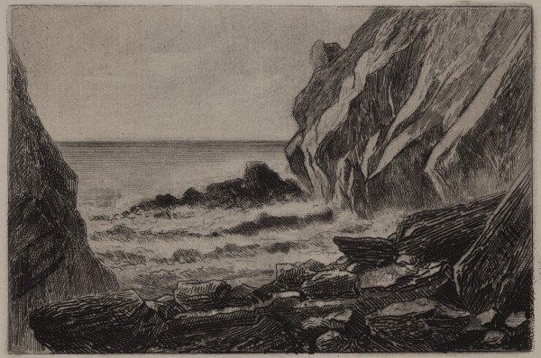Carel Nicolaas Storm van s' Gravesande, The Thunderhole at Parquerolles, c. 1872, Etching printed in black ink on chine colle. Detroit Institute of Arts.