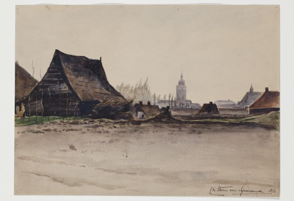 Carel Nicolaas Storm van s' Gravesande, View of Deventer Taken from the Outskirts, 1870, Watercolor over graphite on discolored paper. Detroit Institute of Arts.