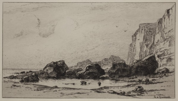 Carel Nicolaas Storm van s' Gravesande, Rocks near Veules, c. 1873, Etching printed in black ink on laid paper. Detroit Institute of Arts.