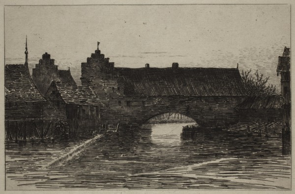 Carel Nicolaas Storm van s' Gravesande, The Pegnitz and the Old Walls at Nuremberg, c. 1873, Etching printed in black ink on chine colle. Detroit Institute of Arts.