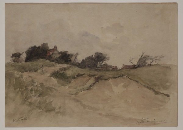 Carel Nicolaas Storm van s' Gravesande, The Downs near Katwyk, 19th/early 20th Century, Watercolor over a preliminary drawing in black chalk on discolored wove paper. Detroit Institute of Arts.