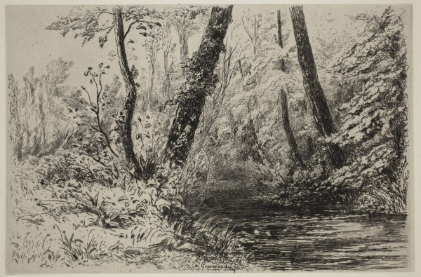 Carel Nicolaas Storm van s' Gravesande, On the Banks of the Veules, c. 1873, Etching printed in black ink on chine colle. Detroit Institute of Arts.