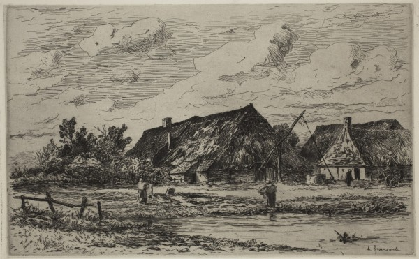 Carel Nicolaas Storm van s' Gravesande, A Farm at Calmpthout, c. 1873, Etching printed in black ink on chine colle. Detroit Institute of Arts.