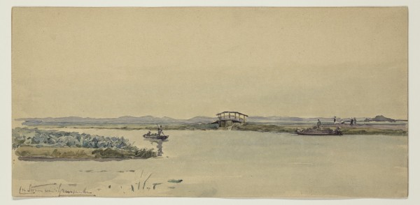 Carel Nicolaas Storm van s' Gravesande, Canal Near Ruysburg, 1885, Watercolor and black chalk on discolored wove paper. Detroit Institute of Arts.