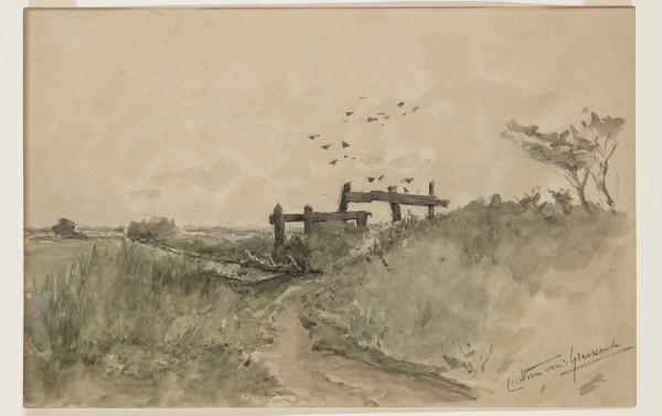 Carel Nicolaas Storm van s' Gravesande, In the Downs, 1855(?), Watercolor over preliminary drawing in black chalk on discolored wove paper. Detroit Institute of Arts.