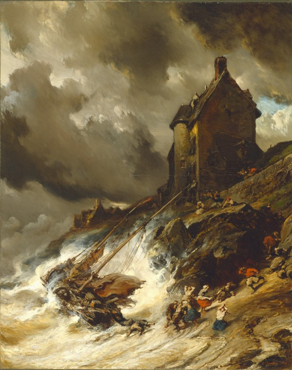 Eugene Louis Gabriel Isabey, The Wreck, 1854, Oil on canvas . Detroit Institute of Arts.