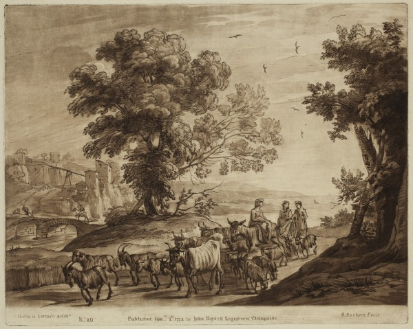 Richard Earlom, Three Women Conducting a Herd of Cattle along a Road, c. 1773, Etching and mezzotint printed in brown on laid paper . Detroit Institute of Arts.