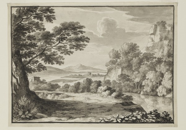 Luigi Gasparini, Landscape after Claude, 18th Century, Pen and gray ink and gray wash and brush and black ink over graphite on buff antique laid paper. Detroit Institute of Arts.