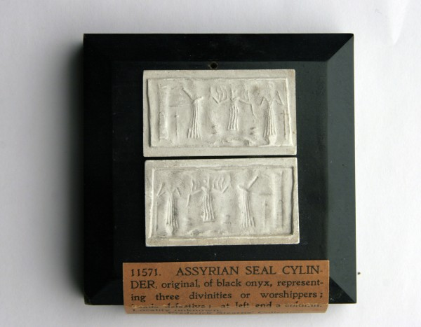 Assyrian, Mesopotamian, Cylinder Seal Impression, onyx. Detroit Institute of Arts, Gift of Frederick Stearns, 90.1S11571.
