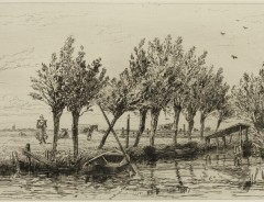 Carel Nicolaas Storm van s' Gravesande, Polder near Loenen, c. 1877, Etching printed in black ink on laid paper. Detroit Institute of Arts.