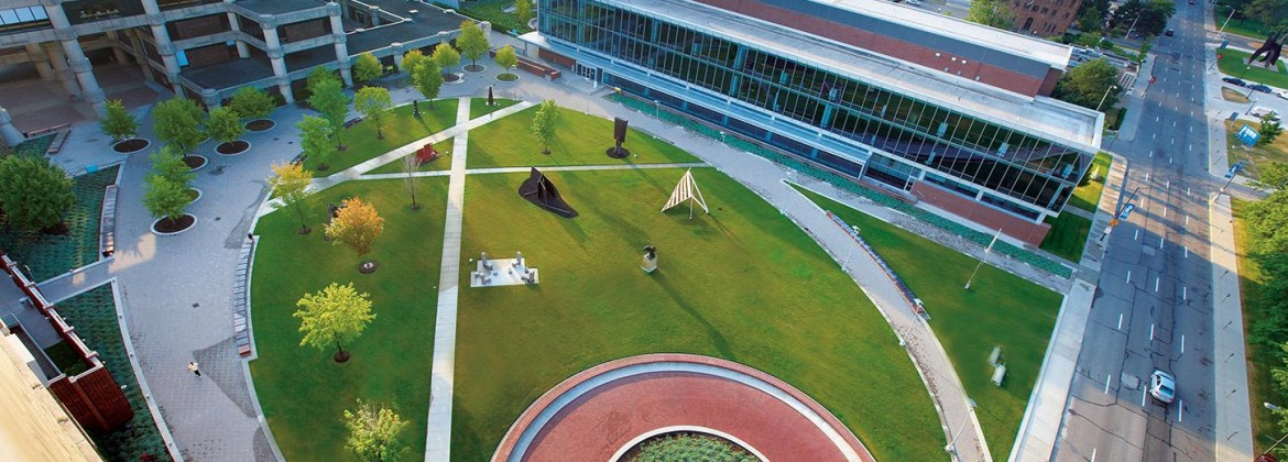 Arial view of College for Creative Studies' Josephine F. Ford sculpture garden and main campus